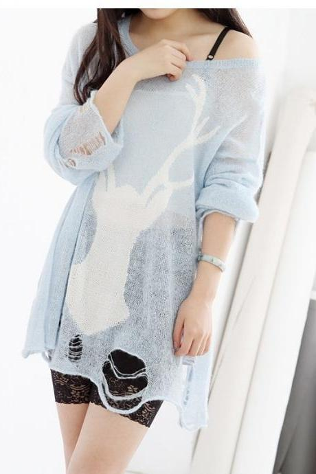 Light Blue Deer Pattern Sweater