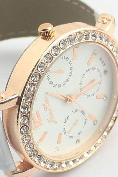 Party dress woman rhinestones white watch