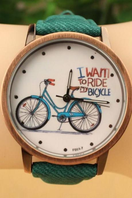 I Want To Ride Bicycle Unisex Green Strap Teen Watch