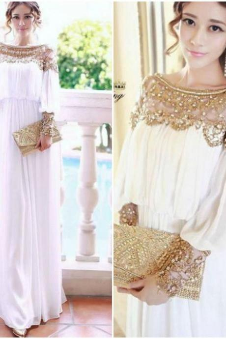 Fabulous Pearl Beaded White And Gold Chiffon Dress