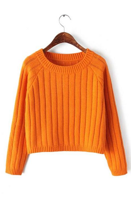 Knitted Crew Neck Long Cuffed Sleeved Sweater