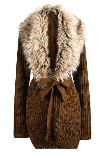 Fashion wear Khaki Long Sleeve Faux Fur Lapel Cardigan Sweater
