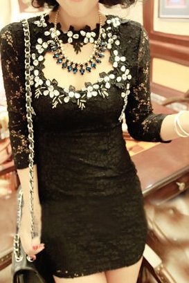 Lace pearl diamond package hip dress