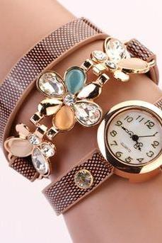 Wrap brown PU leather flowers teenage girl watch
