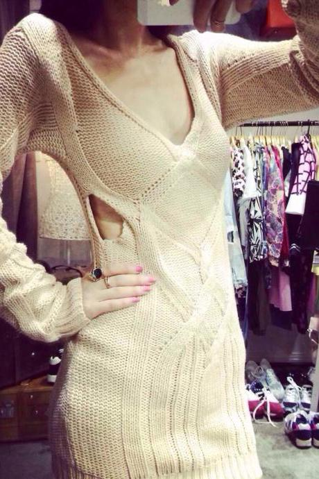 Free Shipping Pierced Sexy V-Neck Sweater Dress