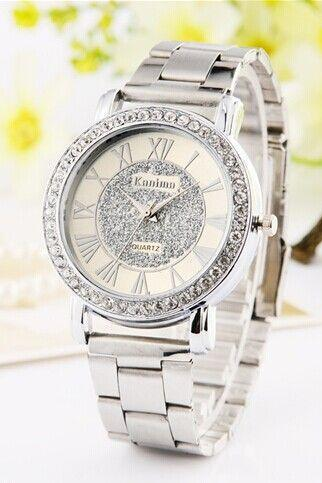 Dress metal rhinestones silver woman watch