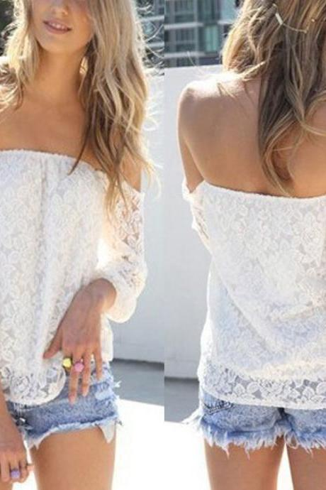 White Lace Off Shoulder Top with Quarter Long Sleeves