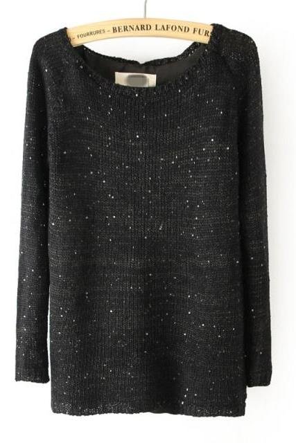 Autumn And Winter Sequined Behind Button Split Knitted Sweater Knitted Black