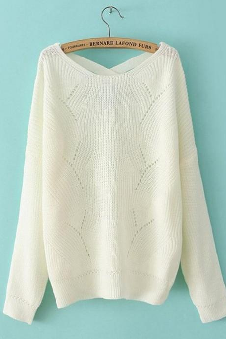 White Fashion Fresh All-match Candy Color Loose Leisure Pullover Sweater