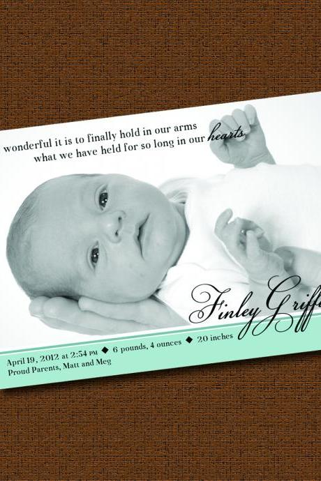 Printable 'How Wonderful' Photo Birth Announcement