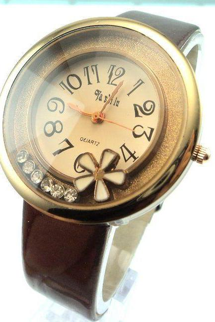 Trendy flower PU leather brown strap school girl watch