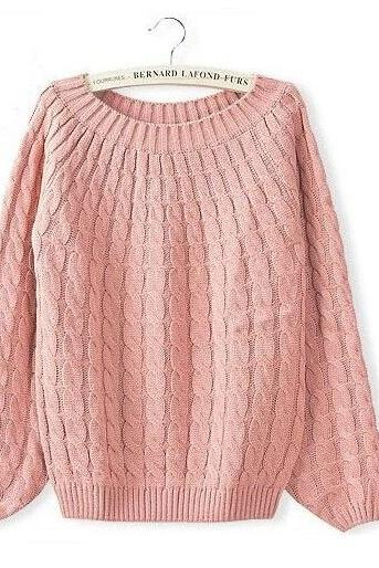 Winter sweater wool o-neck sweater fashion sweater pink sweater pullover