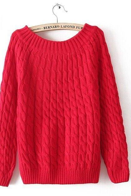 Winter sweater wool o-neck fashion red pullover