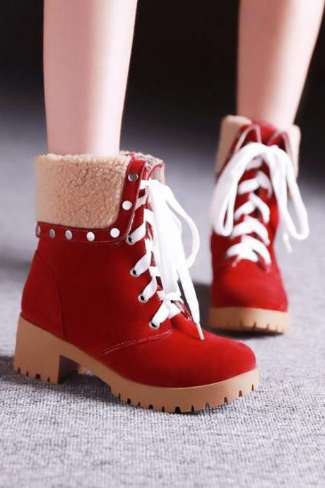 Red Lace up Studded Boots