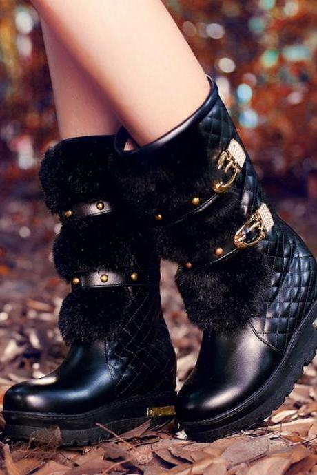 Studded Black Faux Fur Design Winter Boots