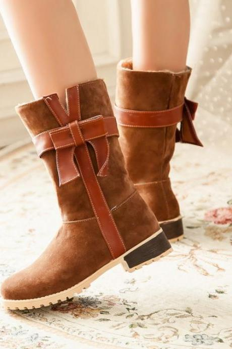 Chic Brown Bow Embellished Winter Boots