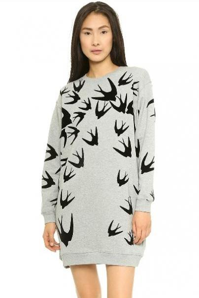 Cheap Fashion O Neck Long Sleeves Swallows Print Grey Long Pullover Sweater