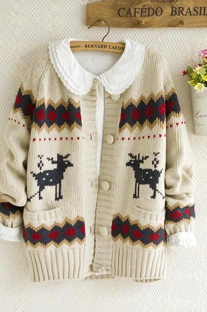 College Wind Cute Elk Collision Color Sweater Knit