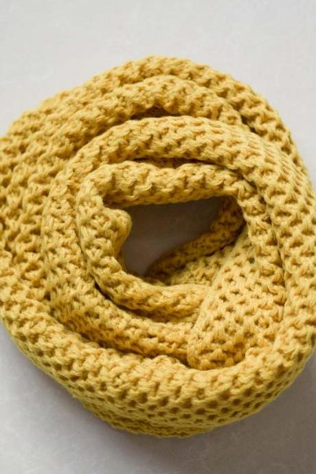 Yellow hollow out knitted infinity scarf