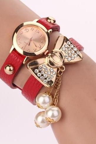 Bow knot dress fashion red rhinestones woman watch