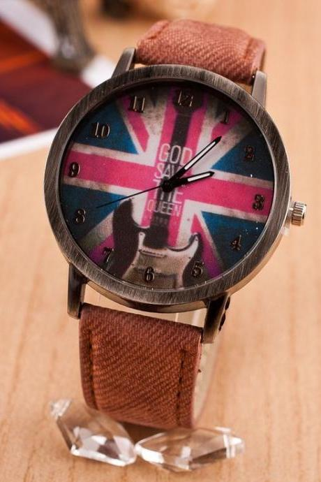 Guitar UK flag face concert teen girl brown watch