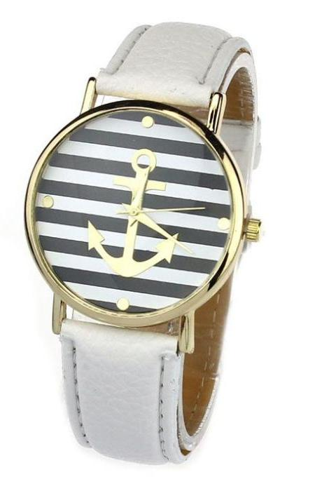 Anchor stripes black-white girl cool watch
