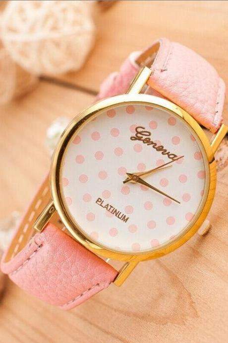 Dots face teenage trendy PU pink leather band girl watch