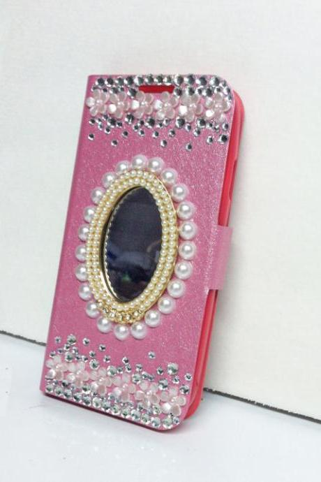Bling Mirror Samsung Galaxy S4 wallet flip case, Pink synthetic leather Galaxy S4 case with pearl mirror and rhinestones