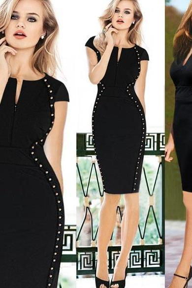 New Women's Studded Optical Illusion Tunic Party Wear To Work Sheath Pencil Dress