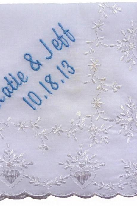 RUSH STATUS -- Embroidered Bridal Lace Hankie - Personalized