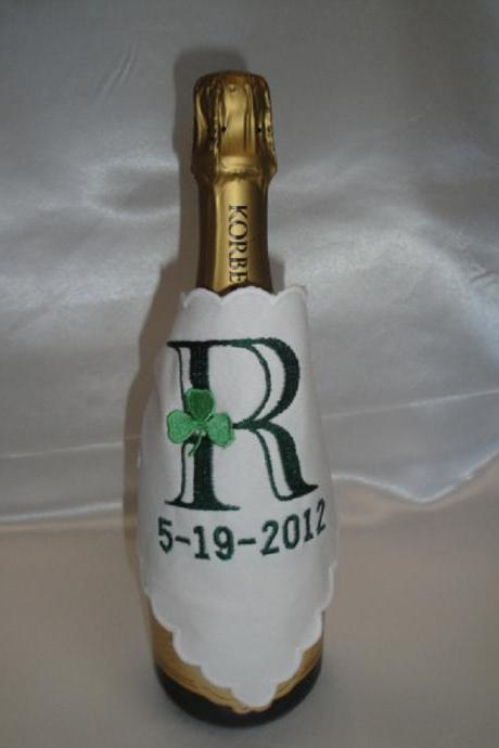 Champagne Wrap Custom Embroidered and Personalized - Irish Shamrock