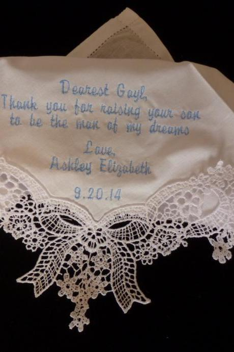 Graceful Created Lace Wedding Handkerchief With Short Poem Embroidered and Personalized - AND GIFT WRAP