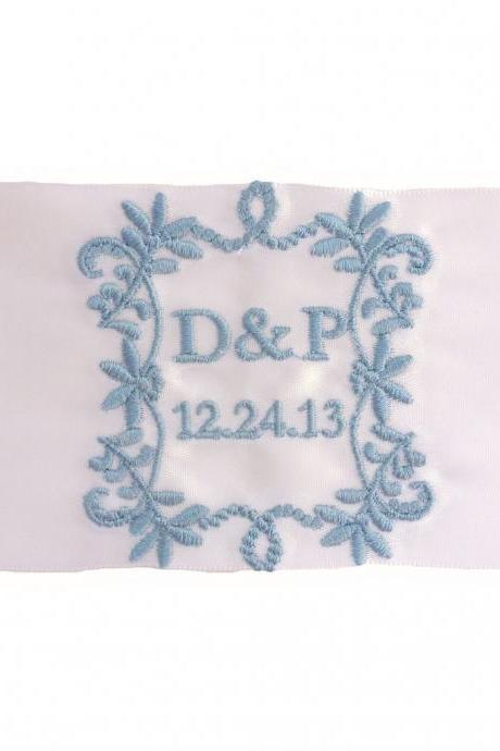 Priscilla Satin Ribbon Wedding Gown Label Embroidered and Personalized