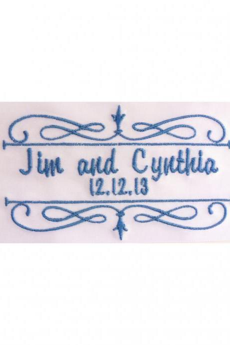 Cynthia Satin Ribbon Wedding Gown Label Embroidered and Personalized