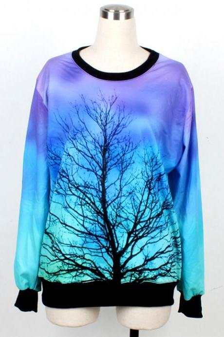 Galaxy Harajuku Style Sweatshirt Top Tee Sweater Hoodie - Starry Sky Moon Tree