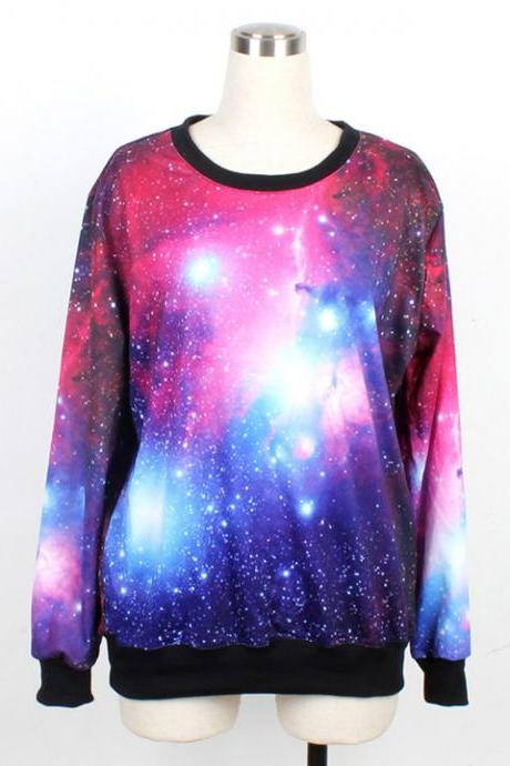 Galaxy Harajuku Style Sweatshirt Top Tee Sweater Hoodie - Pink