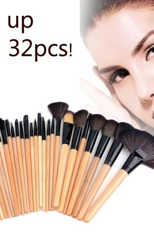 32 PCS Makeup Brush Set Cosmetic Brushes Make up Kit + Pouch Bag Case Black