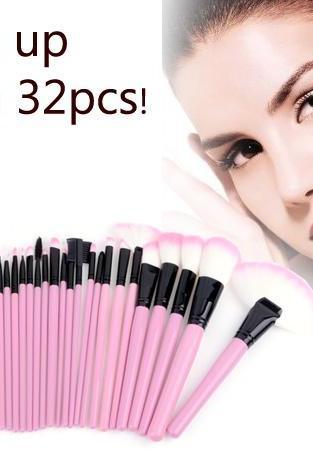 32 PCS Makeup Brush Set Cosmetic Pencil Lip Liner Make Up Kit Holder Bag Pink