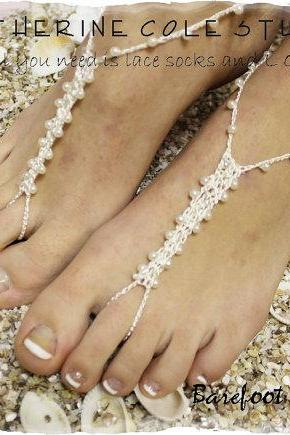 PETITE PEARL cream Barefoot sandals handmade crochet barefoot sandals foot jewelry beach wedding bridesmaids foot jewelry Catherine Cole BF4