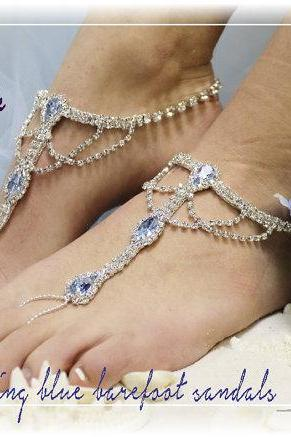 SOMETHING BLUE rhinestone silver Barefoot sandals wedding shoes bridal bridesmaid beach wedding Shoe foot Jewelry Catherine Cole Studio SJ4