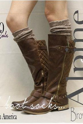 ALPINE ADORE in Brown tweed tall boot socks knit boot socks womens socks tweed socks leg warmers tall socks Catherine Cole Studio BKS0