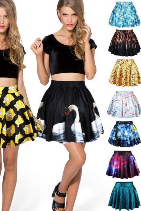 Galaxy Print Pleated Mini Skirts