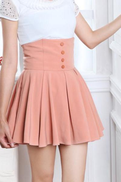 Chiffon High Waist Pleated Mini Skirt