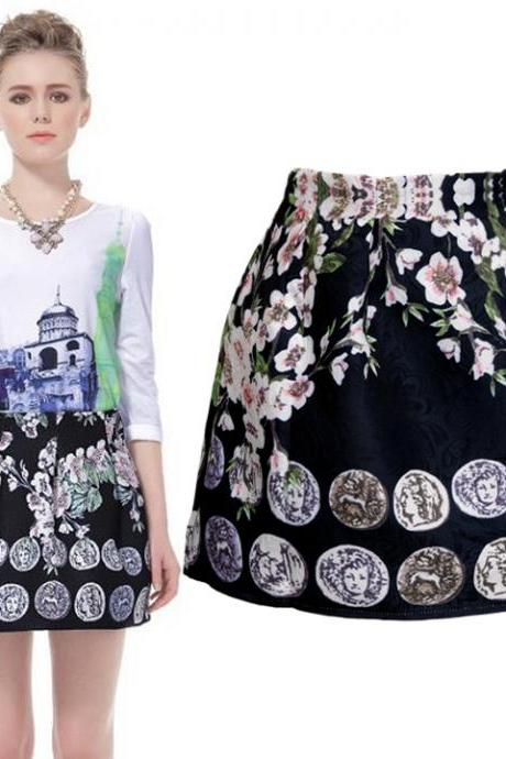 Women Vintage Style Floral Mini Skirt Princess Tutu Skirt Casual Girl Skirt