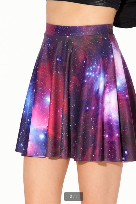 Star printing Pleated skirt skirt