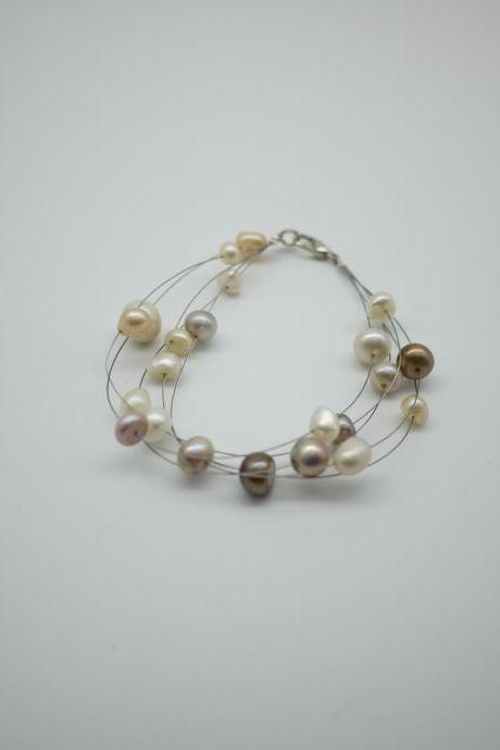 Simply bracelet - freshwater pearl bracelet - purple, pink and white pearl
