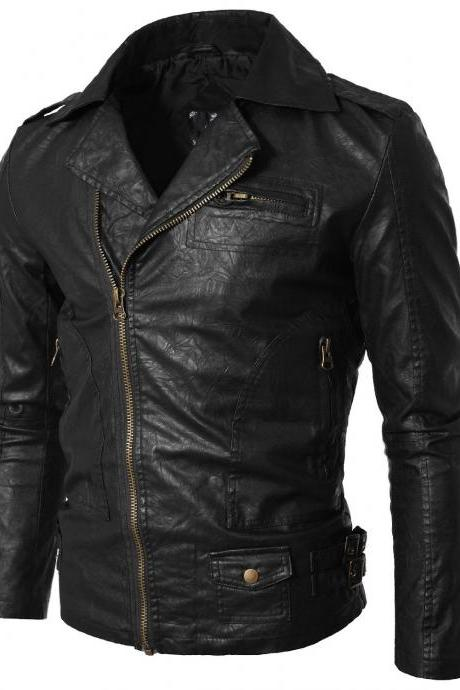 Handmade Custom New Men Simple Brando Style Leather Jacket, men leather jacket, Leather jacket for men, Biker Leather Jacket, Motorcycle Jacket