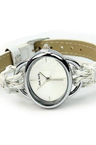 Egg shaped case fashion teen girl white watch