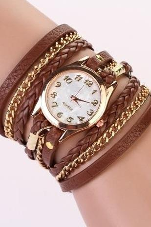 Chain and leather bracelet wrap schoolgirl brown watch