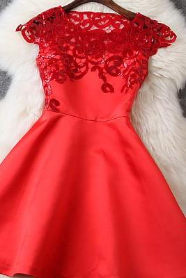 Beaded And Crochet Dress In Red GH10401JK